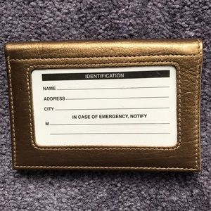 NWT Barneys New York Small Gold Leather Wallet